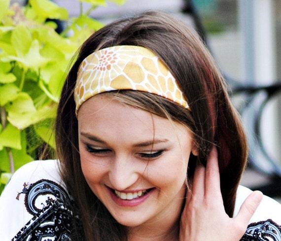 Floral headband...khaki and brown rust floral burst