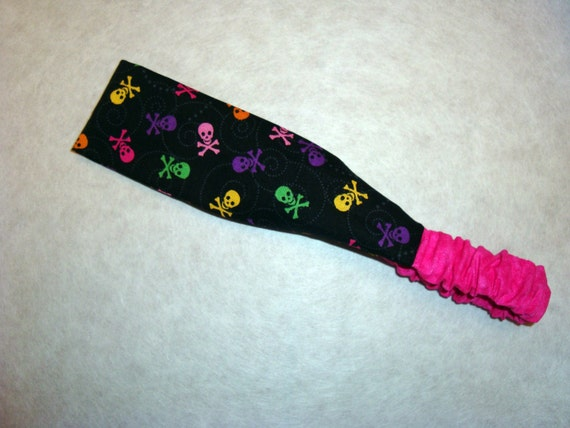 Black multi colored skulls headband
