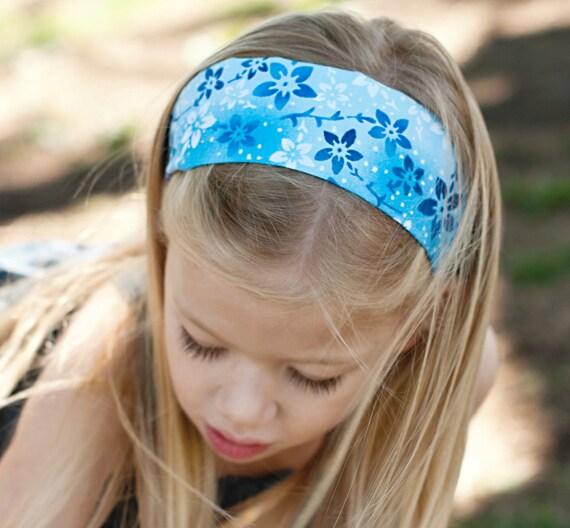 Blue floral ocean headband