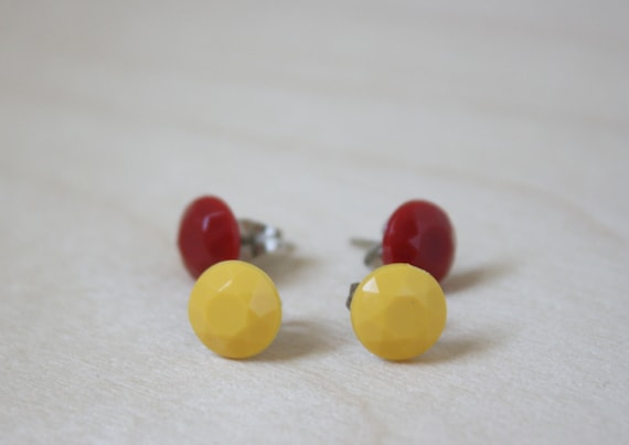 red & yellow small round post stud earrings