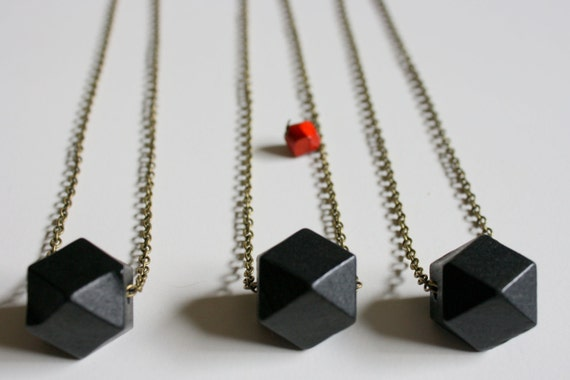 black wood geometric necklace with antique bronze chain