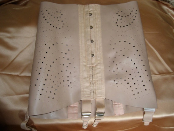 Rare Authentic Vintage Pink Rubber Girdle With Front busk and Suspenders