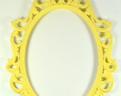 Yellow Ornate Oval Metal Picture Frame