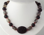 Red and Black Necklace Coral Lava Dragon Agate