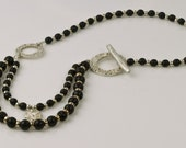 Black and Silver Necklace Lava Sterling