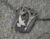 Bird & Trees Pendant Necklace Fine Silver I'll Fly Away