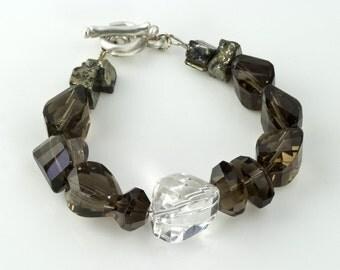 Quartz  Bracelet Chunky Nugget Pyrite Silver