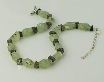 Green Prehnite Necklace Pyrite Nuggets