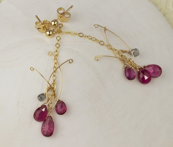 Pink Tourmaline Earrings Briolette Gold Sapphire