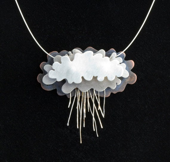 Silver Rain Clouds Necklace Silver Lining
