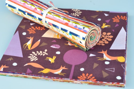 """Andover Lizzie House Outfoxed COMPLETE  27 Piece Fabric 10"""" Square Layer Cake"""