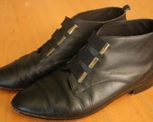 Black Leather Ankle Boots Size 7.5