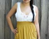 High Waisted Mustard Yellow Skirt