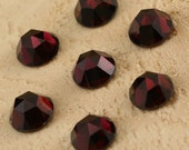 Two 6mm Rose Cut Faceted Garnet Cabochons