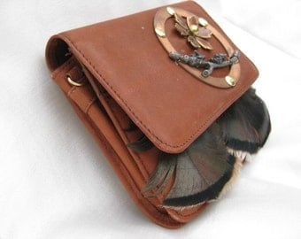 ON SALE Leather and Feather Art Wallet