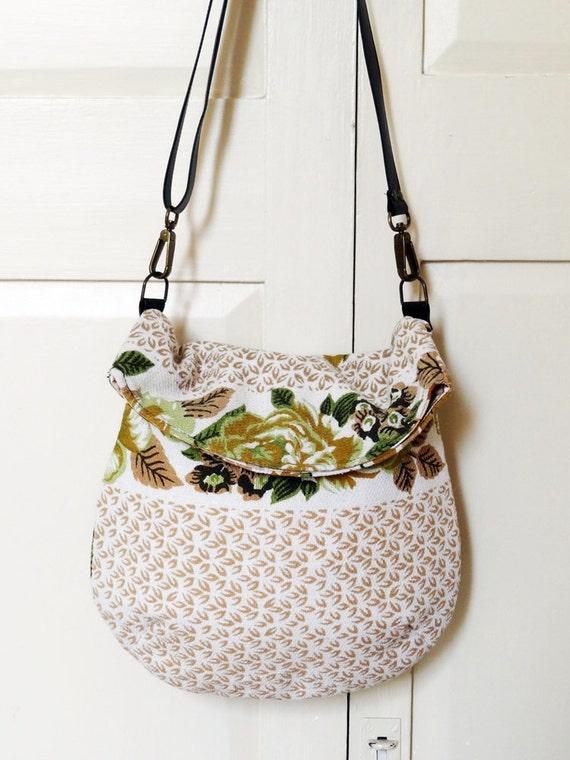 Recycled messenger bag, cream floral bedcover, one pocket, adjustable strap