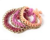 SET of 3 Woven Friendship bracelets thin chain