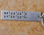Hand-Stamped Longitude and Latitude Keychain