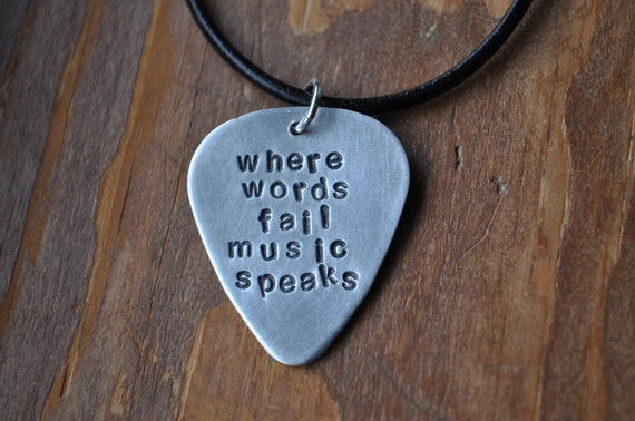Hand-stamped Guitar Pick Necklace