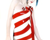 Red & White Candy-Stripe Asymmetric Mini Dress With or Without Bow