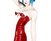 Red & White Latex Mini Dress With Built-In Underwired Cups, Box-Pleat Frills And Zip back.