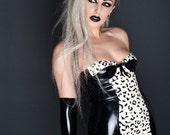 Black & White Latex Mini Dress With Built-In Underwired Cups, Leopard Print Panels, Box-Pleat Frills And Zip back