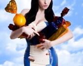 Blue & White Latex Rubber Strapless Cupcake and Cherries Applique Mini Dress