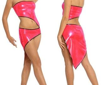 Latex Asymmetric Mini Dress with Cutouts
