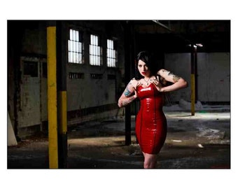 Latex Rubber Panelled Vamp Dress with Trim