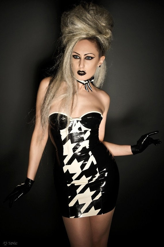 Black & White Latex Mini Dress With Built-In Underwired Cups, Hounds-Tooth Panel, Contrast Trim And Zip back