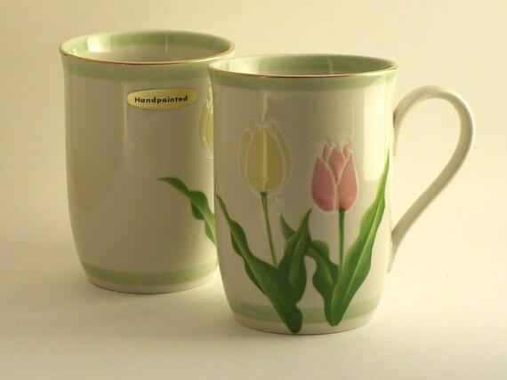 SALE Set of Two Otagiri Japan Hand Painted Mugs Tulips