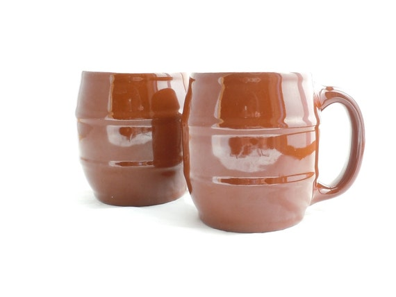 Vintage Pair Hall China Brown Barrel Mugs