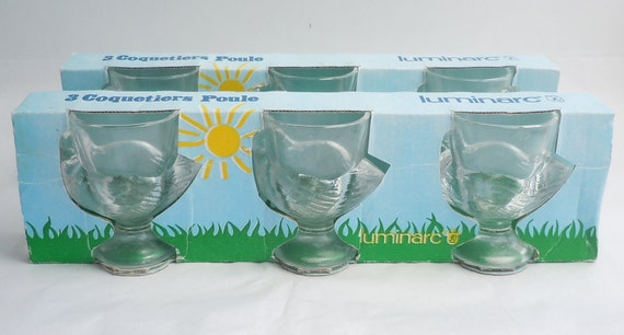 Luminarc France Vintage Clear Glass Egg Cups in Original Packaging Set of 6