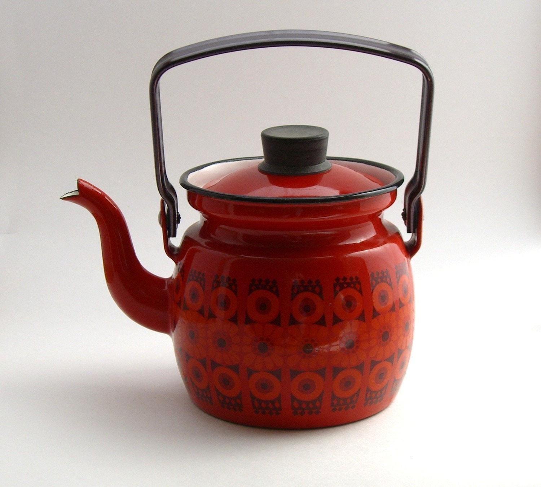 Kaj Frank Arabia Finland Finel Enamel Teapot Mid Century
