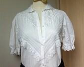 White cotton eyelet blouse - peter pan collar, puff sleeves