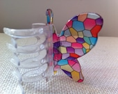Vintage plastic hair clip clamp / stained glass look / butterfly in bright colors