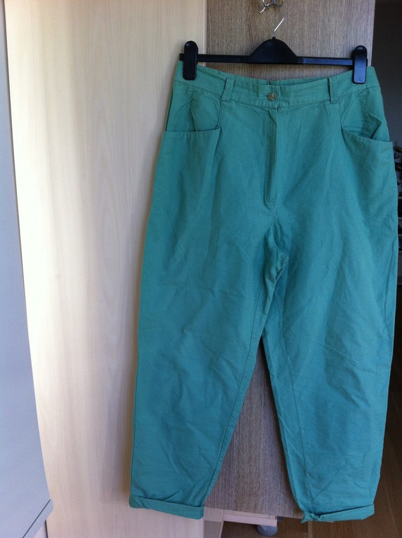 90s vintage tapered pants / linen trousers / mint green / L or XL