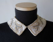 Vintage 1940s Beaded  Collar -  Pearls Rhinestone Satin