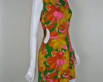 1960s Cut Out Dress - Vintage 60s Mini Dress - Floral Cotton Dress - M