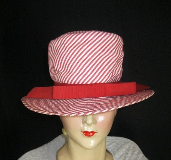 Vintage 1960s Oleg Cassini Hat //  Red  White Stripped //  Fun Summer // Mod // Mad Men