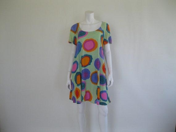 1980s Jams World Dress / Mini / Neon Colors / Beach / M