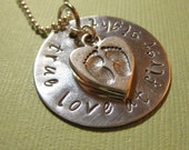 Handstamped Personalized Mommy Necklace True Love at First Sight Baby Feet Charm by TheCopperFox