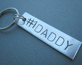 Number 1 Daddy Number One Dad Hand Stamped Keychain Personalized by TheCopperFox