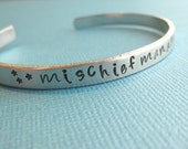 Harry Potter Mischief Managed Cuff Bracelet Hand Stamped by TheCopperFox