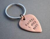 Copper Guitar Pick Keychain Hand Stamped Boyfriend Husband Fiance Dad by TheCopperFox