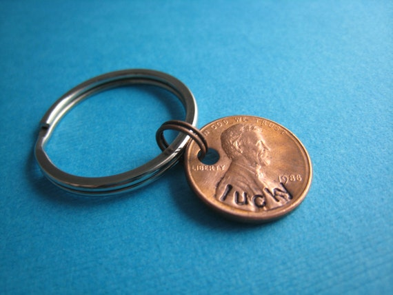 Penny Keychain Hand Stamped Keychain by The Copper Fox