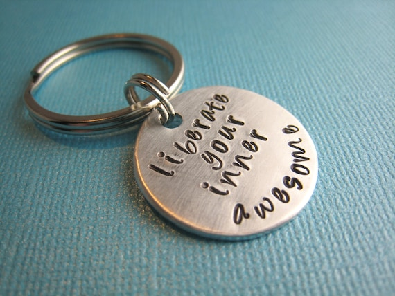 Liberate Your Inner Awesome Keychain Hand Stamped by CandidGrace