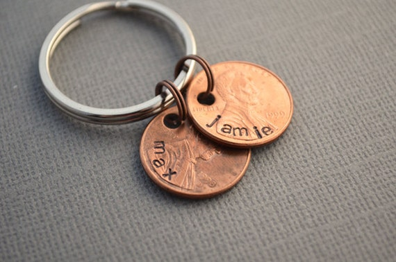 Family Penny Keychain Hand Stamped Established Family Keychain by TheCopperFox