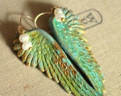 Angel wings patina pearly Heart with goldfield ear hooks .