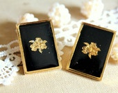 Big geometric stud earrings shabby chic vintage style black and gold  victorian style